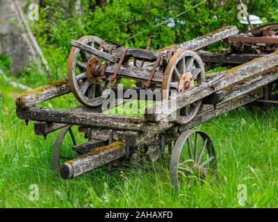 Abandoned village wheeled vehicle Cabar in Croatia - Stock Photo