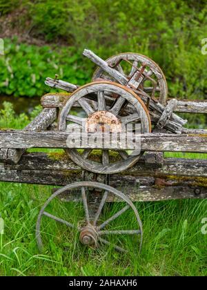 Abandoned village wheeled vehicle Cabar in Croatia - Stock Photo