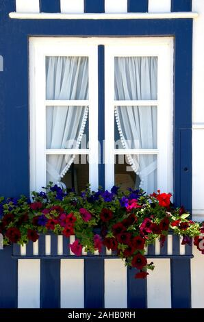 Window of striped houses in Costa nova, Aveiro, Portugal - Stock Photo