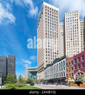 View down Woodward Avenue towards Campus Martius Park in downtown Detroit, Michigan, USA - Stock Photo