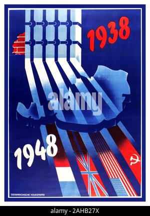 Original  WW2 vintage Anschluss propaganda poster published by the Austrian People's Party (Ostereichische Volkspartei OVP; founded 1945) featuring a colourful and dynamic design against a dark blue background of a map of Austria imprisoned behind Nazi prison bars with the dates 1938 in red and 1948 in white and shadows forming the flags of the Allied countries to symbolise Austria's annexation by Nazi Germany into the Third Reich in 1938 (Anschluss) until the end of World War Two in 1945 followed by the Allied occupation ((France, UK, USA, Soviet Union).  1948, country of printing: Austria, - Stock Photo