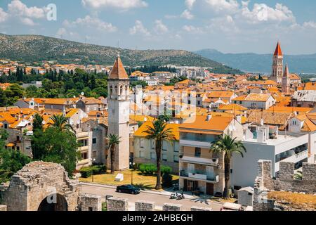 Historic town Trogir panorama view from Kamerlengo castle and fortress in Trogir, Croatia - Stock Photo