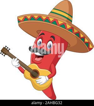 Cartoon happy sombrero chili pepper playing a guitar - Stock Photo
