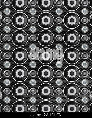 Audio speakers seamless pattern. Vector illustration - Stock Photo
