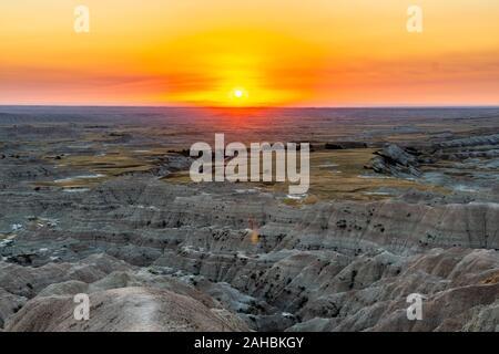 Landscape Vista Sunset at the Badlands National Park in South Dakota, USA