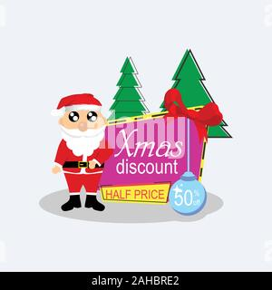 Christmas banners sale promo with santa claus vector image for poster, banner, flyer, tag, cover, Design landing page and background. - Stock Photo