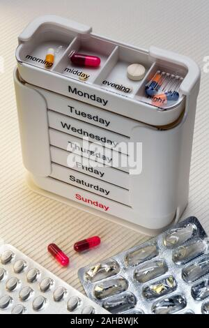 York. England. 06.17.15. Medical Treatment - Daily medication to be taken in the morning, midday, evening and at night. - Stock Photo