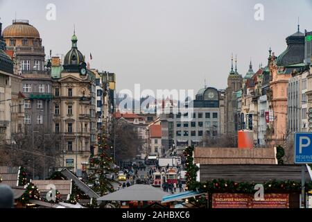 Prague, Czech Republic - December 2019: Wenceslas Square with christmas decorations at night - Stock Photo