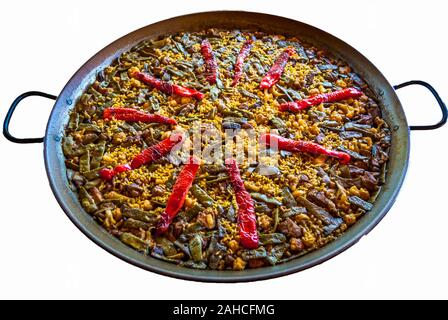 paella on white background - Stock Photo