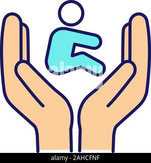Child custody color icon. Children's rights. Child protection day. Hands holding kid. Childcare. Adoption. Orphanage. Co-parenting. Isolated vector il - Stock Photo
