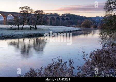 The first light of day produces pastel tones in the landscape on the bank of the River Wharfe by Arthington Viaduct on a frosty autumn morning. - Stock Photo