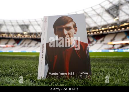 London, UK. 28th Dec 2019.  English Premier League Football, West Ham United versus Leicester City; Official match programme featuring West Ham United, Tottenham Hotspur, Norwich City and 1966 England World Cup winner Martin Peters after his passing on Saturday 21st December 2019 due to Alzheimer's disease - Strictly Editorial Use Only. No use with unauthorized audio, video, data, fixture lists, club/league logos or 'live' services. Online in-match use limited to 120 images, no video emulation. Credit: Action Plus Sports Images/Alamy Live News - Stock Photo