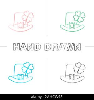 Saint Patrick's Day hand drawn icons set. March 17th. Leprechaun hat with four leaf clover. Color brush stroke. Isolated vector sketchy illustrations - Stock Photo