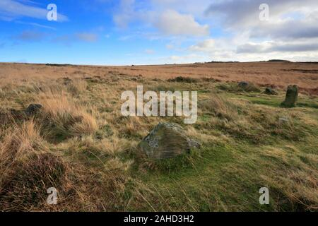 View over Barbrook 1 Stone Circle, Ramsley Big Moor, Peak District National Park, Derbyshire, England, UK Stock Photo