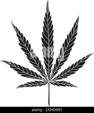 Simple Hemp Leaf Vector Drawing isolated on White Background. CBD, Cannabis logo - Stock Photo
