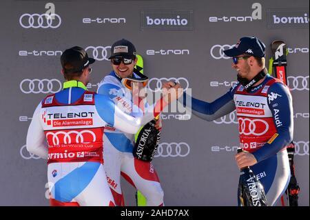 Bormio, Italy. 28th Dec, 2019. podiumduring AUDI FIS World Cup 2019 - Men's Downhill, Ski in Bormio, Italy, December 28 2019 - LPS/Giorgio Panacci Credit: Giorgio Panacci/LPS/ZUMA Wire/Alamy Live News - Stock Photo