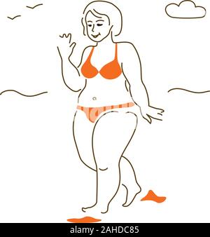 Vector illustration of a woman of big XXL size on the beach in a swimsuit is not shy of her body. No shaming. - Stock Photo