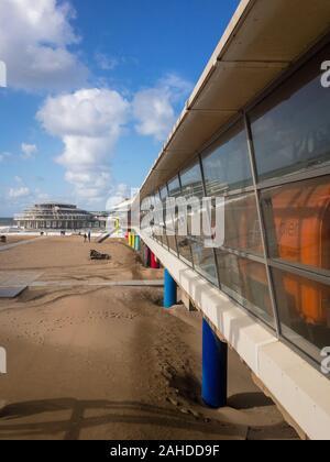Scheveningen, the Netherlands - October 3, 2017: Pier of Scheveningen seen from the left side with reflection in the window - Stock Photo