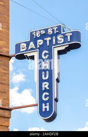 neon sign outside the 16th street baptist church where Martin Luther King Jr preached in Birmingham, AL, USA - Stock Photo