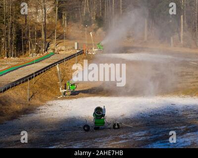 Start od artificial snow making snowflakes Platak Winter resort near Rijeka in Croatia - Stock Photo