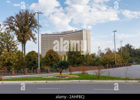 Tashkent, Uzbekistan - November 3, 2019: Hotel Uzbekistan in Tashkent. Five star hotel in Tashkent. - Stock Photo