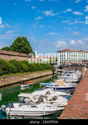Canal in Venezia Nuova, Livorno, Tuscany, Italy - Stock Photo