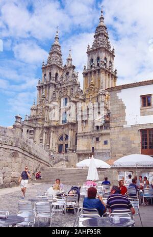People sitting in terrace. Obradoiro Square, Santiago de Compostela, La Coruña province, Galicia, Spain.