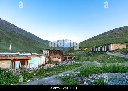 Deosai National Park Chilum Village Picturesque Breathtaking View in the Morning with Blue Sky - Stock Photo