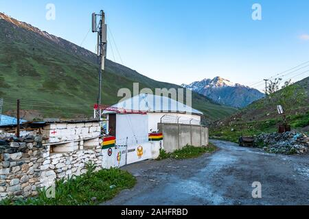 Deosai National Park Chilum Village Picturesque Breathtaking View of Military Camp in the Morning with Blue Sky - Stock Photo