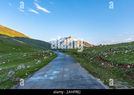 Deosai National Park Chilum Village Picturesque Breathtaking View of Landscape in the Morning with Blue Sky - Stock Photo