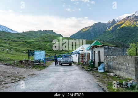Deosai National Park Chilum Village Picturesque Breathtaking View of Entrance Gate Check Point in the Morning with Blue Sky - Stock Photo