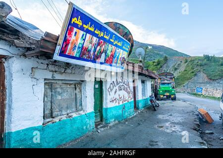 Deosai National Park Chilum Village Picturesque Breathtaking View of Restaurants in the Morning with Blue Sky - Stock Photo