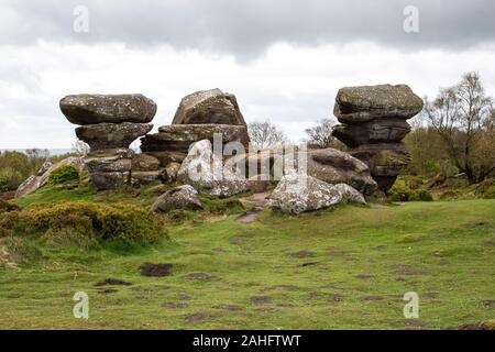 Incredible natural rock formations due to weathering, ice and wind at Brimham Rocks, North Yorkshire, England. U.K. - Stock Photo