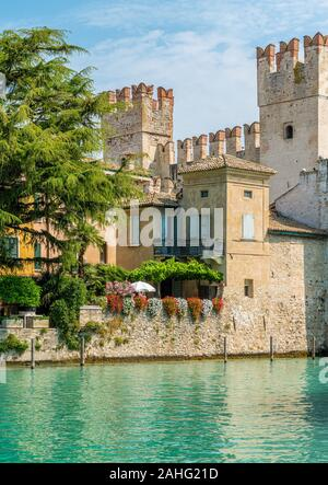 The picturesque town of Sirmione, on Lake Garda, Province of Brescia, Lombardy, Italy.