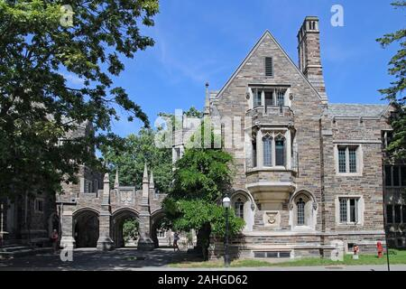 PRINCETON, NJ, USA - JUNE 2016:  Princeton University is noted for its elegant gothic style stone buildings with leaded glass windows - Stock Photo
