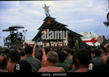 The 1969 Bob Hope Christmas Special at a 1st Cavalry Division Army base in Cu Chi for US troops stationed in Vietnam during the war. - Stock Photo