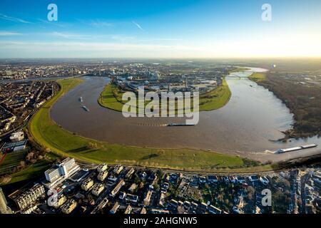 Aerial photograph, cargo ships on the Erft Canal, River Rhine, Lausward power station, Media Harbour, Düsseldorf, Rhineland, North Rhine-Westphalia, G - Stock Photo