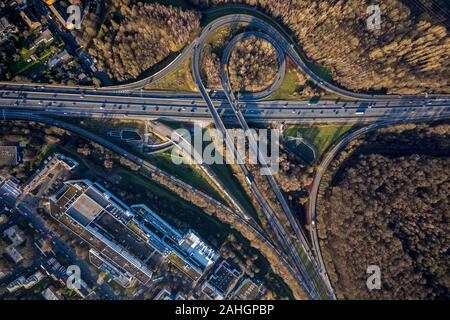 Aerial photo, motorway junction Düsseldorf-Süd, industrial area In der Steele, district Hassels, Düsseldorf, Rhineland, North Rhine-Westphalia, German - Stock Photo