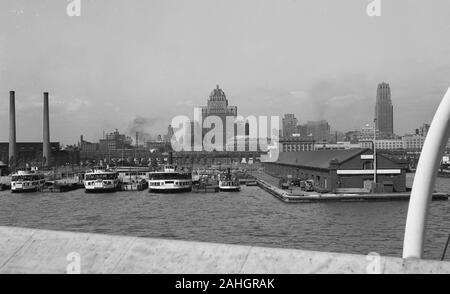 The skyline of Toronto, as seen from the deck of the passenger ship SS North America, 1942 - Stock Photo