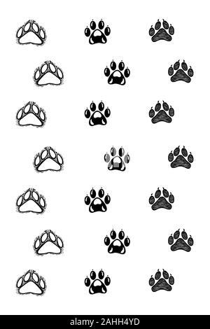 Hand drawn animal footprints, sketch graphics monochrome illustration on white background (originals, no tracing) - Stock Photo