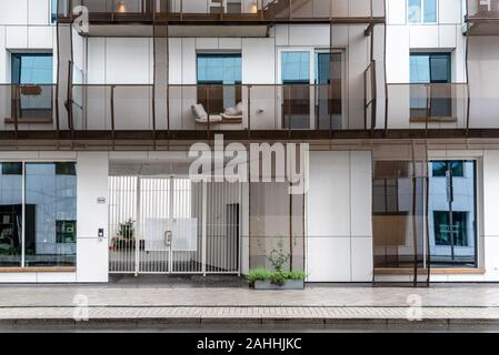 Oslo, Norway - August 11, 2019: Modern luxury residential buildings in Barcode Project area. - Stock Photo