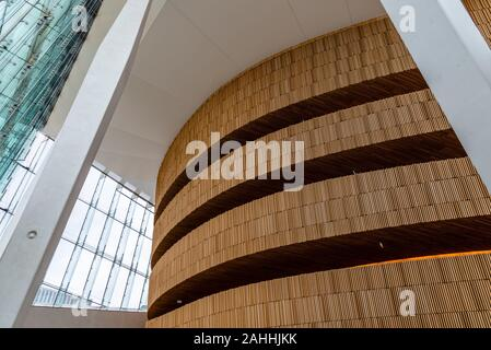 Oslo, Norway - August 11, 2019: Opera house in Oslo. Interior view. Modern building designed by Snohetta architects. It is the National Theater of Ope - Stock Photo