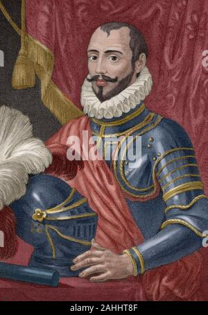 Sancho Davila y Daza (Avila, 1523-Lisbon, 1583). Spanish military, so-called 'Rayo de la Guerra' (Ray of War) He fought against the Turks under the command of the Duke of Alba. He also fought in Flanders and seized Antwerp in 1576. Felipe II entrusted him with the surveillance of the coasts of Granada in 1578. In the campaign of Portugal he was general of confidence of the Duke of Alba. He took part in the battle of Alcantara (August 25, 1580). Engraving. Later colouration. - Stock Photo