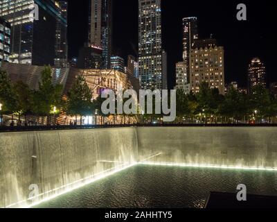 Manhattan, New York city, United States : World Trade Center 9-11 terrorist attack victim memorial and museum, large fountain park at ground zero