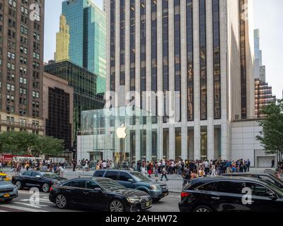 Manhattan, New York City, United States of America [ Apple store on Fifth Avenue, cube box, business financial market stock  ] - Stock Photo