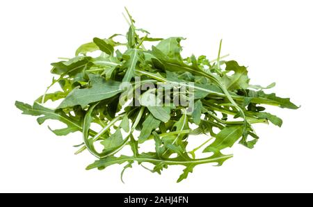 pile from fresh leaves of Arugula (rocket, eruca, rucola) plant isolated on white background - Stock Photo