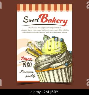 Sweet Bakery And Ice Cream Cake Banner Vector - Stock Photo