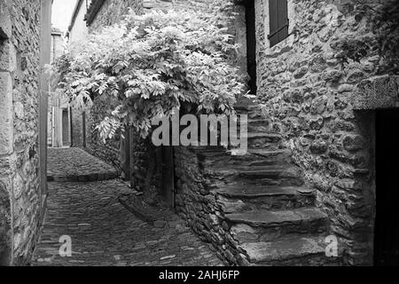 Alley with stone steps (Rue des Martyrs) in the ancient Cathar village of Minerve, Hérault, Occitanie, France.  Black and white version - Stock Photo