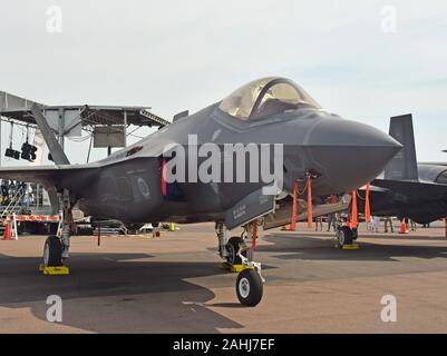 Lakeland, FL, USA - April 17, 2019: USAF United States Air Force Lockheed Martin F-35A Lighting II stops over in Lakeland, Florida on the way to its h - Stock Photo