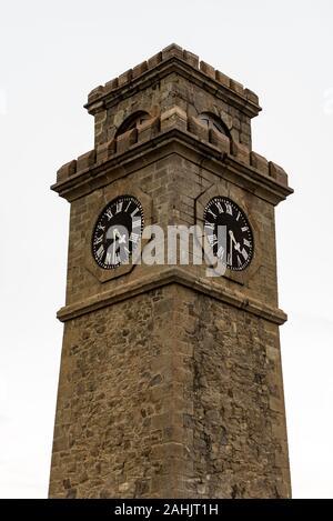 Galle, Sri Lanka. 2019 Nov 19 :  City clock tower in Galle Fort in Bay of Galle on southwest coast of Sri Lanka. - Stock Photo